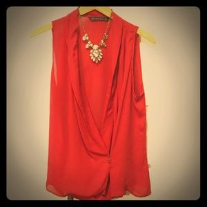 Zara Red Flowing Top